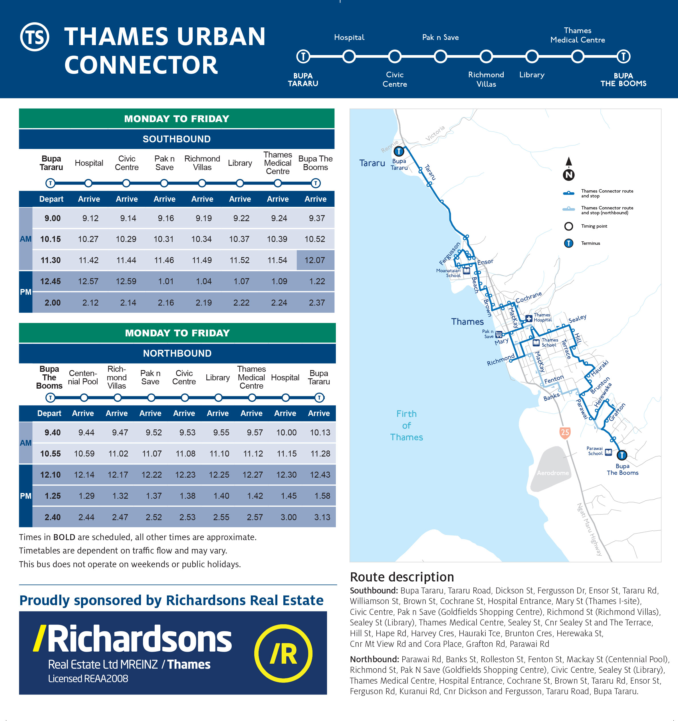 Thames Connector route and schedule flyer