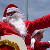 santa waving as part of Santa Parade