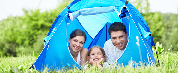 blue camp tent with family
