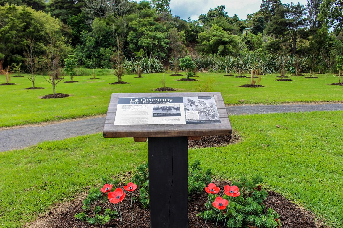 Photo above: Le Quesnoy World War 1 Memorial Forest in Whangamata.
