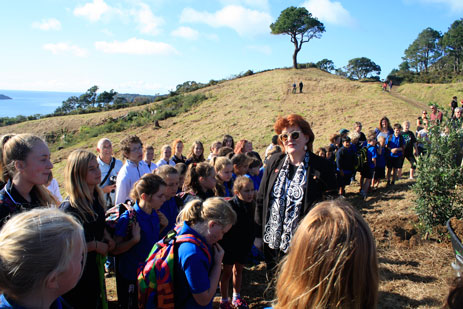 Maggie Barry at launch of WWI Memorial Forest at Cathedral Cove 5 June 2015