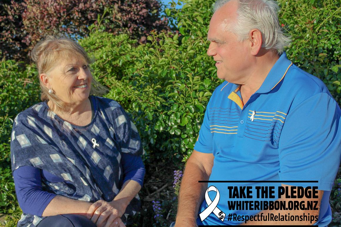 Our Mayor Sandra Goudie (pictured above) is proud to stand up, take the pledge, and support the White Ribbon campaign this year, and discusses its importance with Councillor Terry Walker.