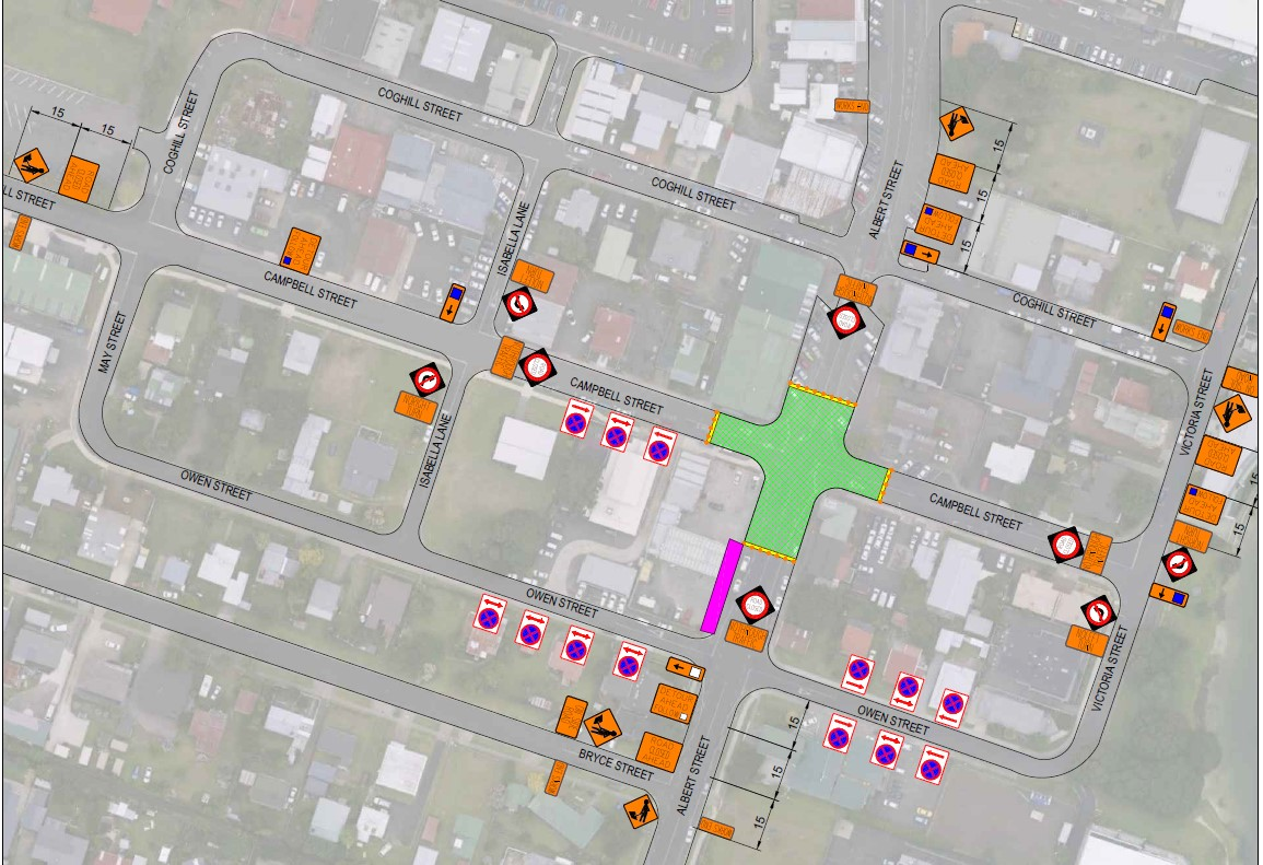 Road closure for AlbertCampbell Street roundabout construction