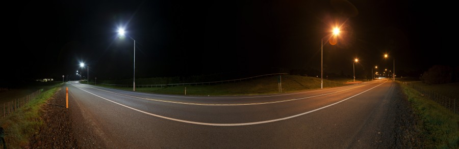 Photo: (Courtesy of ADLTNZ) Comparison of LED lighting to current lighting on State Highway 22.