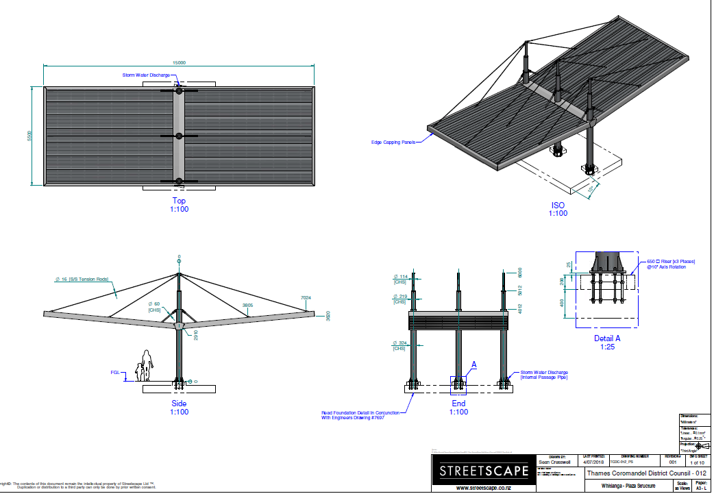 Whitianga Town Centre upgrade canopy design