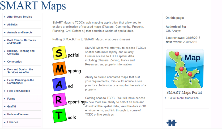 External Land Page for SMART Maps
