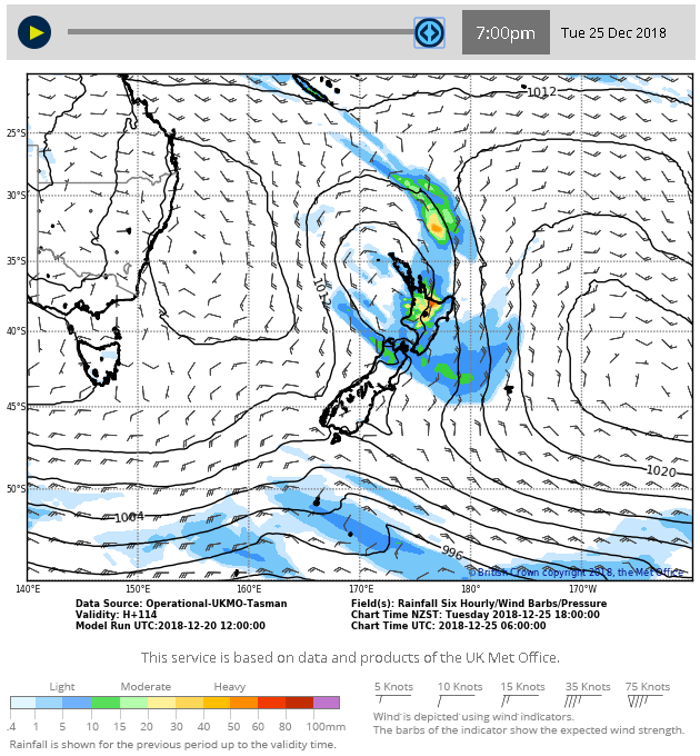 mage: MetService rain forecast for Christmas Day.